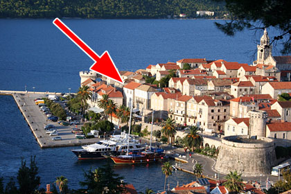 Location in Korcula Old Town